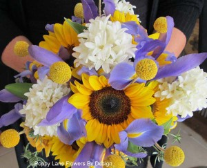sunflower,iris, billy button, hyacinth bouquet_bg